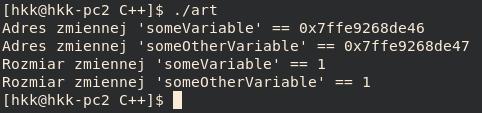 typy wzorów c ++ - char