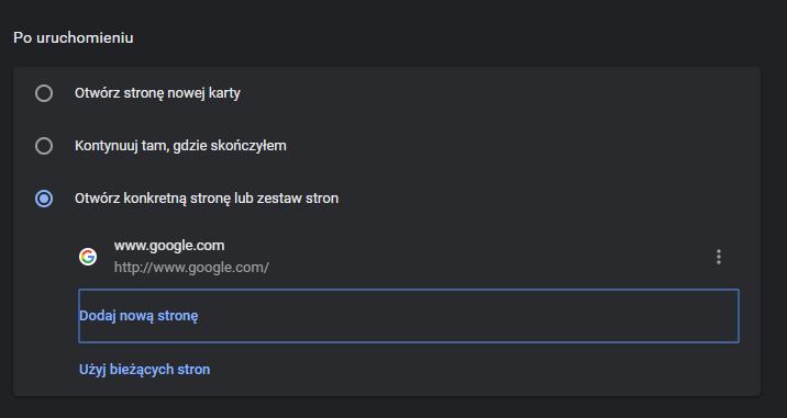 jak ustawić stronę startową google