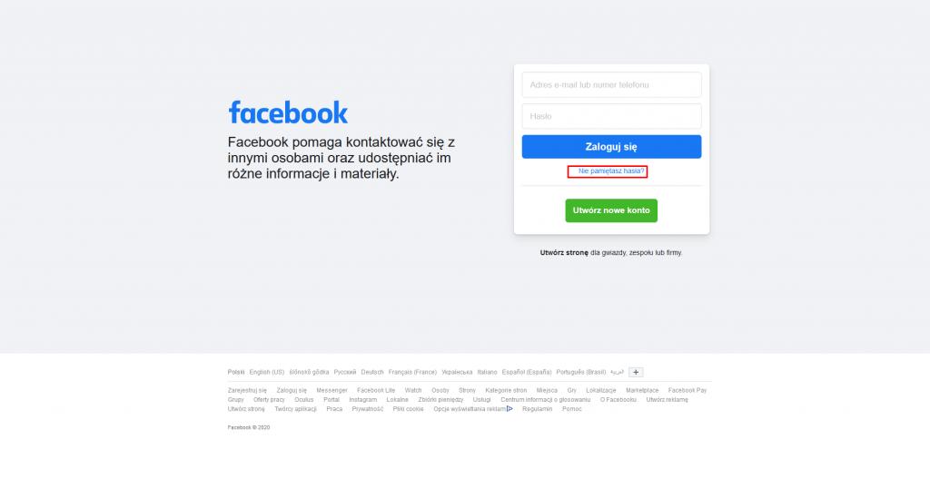 odzyskanie konta na fb bez adresu e mail