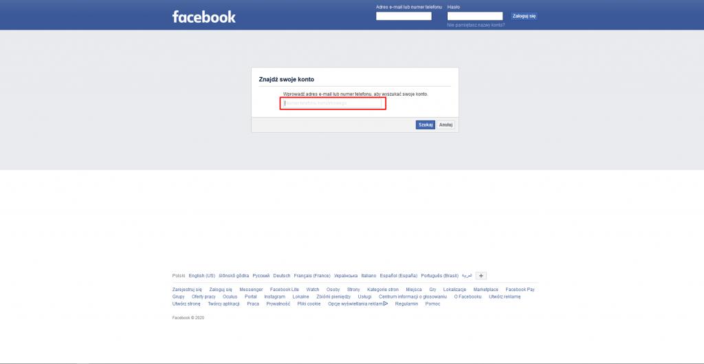 zmiana maila na facebooku