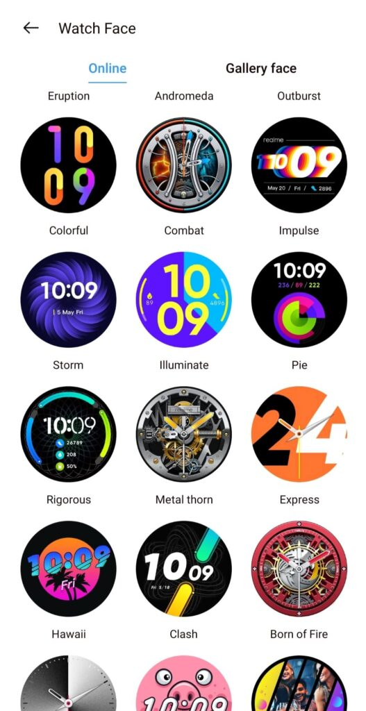 realme watch s watch faces