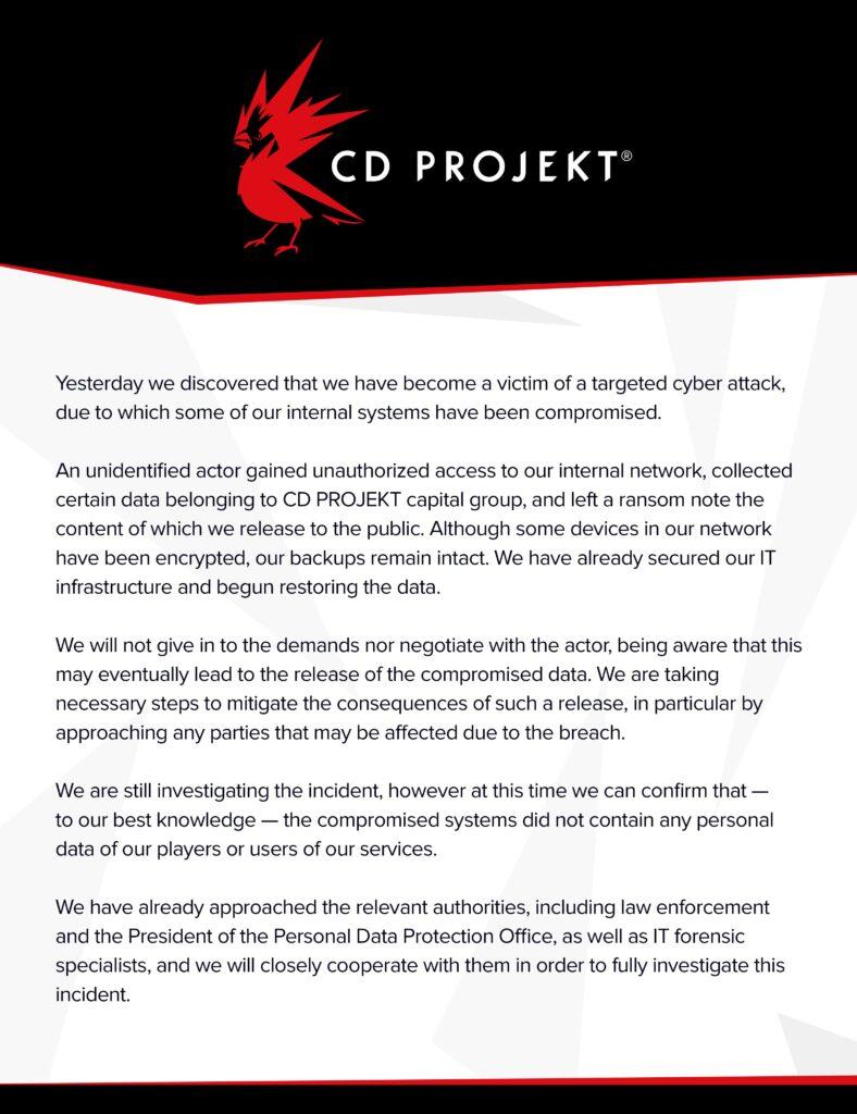 cd projekt oświadczenie