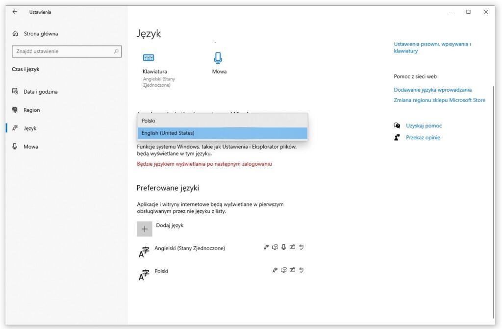 zmiana języka windows 10