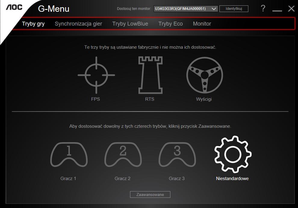 aoc g menu